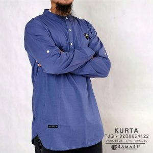 Kurta Lengan Panjang dark blue